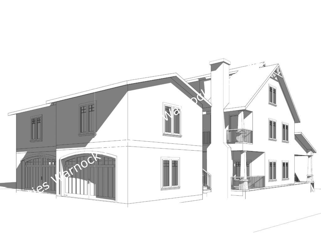 Proposed Duplex Townhomes - Rear Shared Driveway Detached Garage and Courtyard Entry.