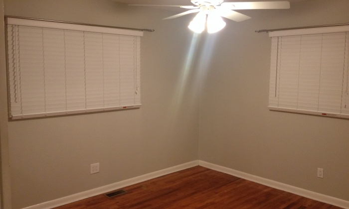 Master Bed with His and Her closets and New Paint and Ceiling Fan